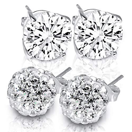 MUIBLU Two Pairs Women's Classic Sterling Silver Cubic Zirconia Round Stud Earrings & Fireball Crystal Earrings Set, Hypoallergenic Fashion Jewelry