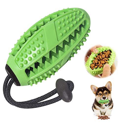 SharpCost Zahnbürsten-Stick, Ball Leckerli-Spender für Hunde Welpen-Zahnpflege, Bürsten und Kauspielzeug, ungiftiges Naturkautschuk für Kleine mittlere Hunde (Grün)