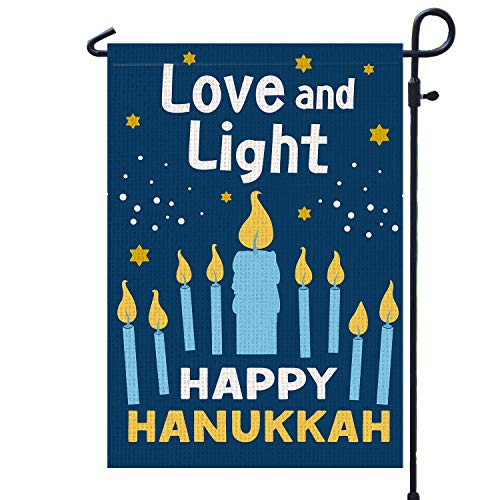 PAMBO Happy Hanukkah Garden Flag Vertical Double Sided, Burlap Flag for December Chanukah Decoration - Love and Light Menorah Jewish Holiday Garden Outdoor & Yard Decoration Flag 12.5' x 18'