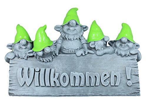 colourliving Großes Willkommen Schild Wichtel Zwerg Gartenfigur Gartendeko Dekofigur Beton Optik