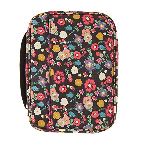 Good Ruby Canvas Bible Cover with Carrying Handle, Floral Fabric Book Protector with Pockets, Colorful Carrier Case with Zipper and Pen Holder for Women, Teens, Girls, Females (Black Floral)