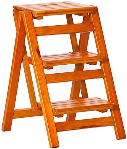 MUZIDP Taburete escalón para niños pequeños de madera maciza 3 pasos Taburetes plegables sillas de escalera portátil hogar escalera estante multiusos escalones para cocina / oficina/biblioteca