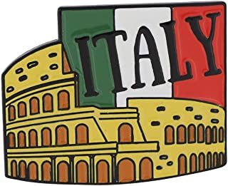 WIZARDPINS Italy Green White Red Flag Rome Colosseum Enamel Pin