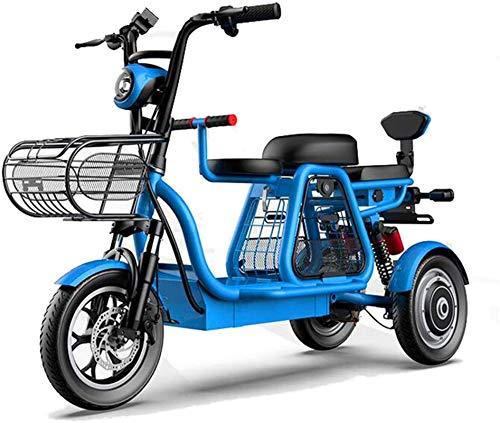 RDJM Bici electrica Triciclo eléctrico, Madre-Niño Scooter eléctrico, Pantalla LEC/embarque LED Delantera y Trasera / 48V500w Motor/Suspensión Independiente, de Tres plazas Grande de Soporte de ca