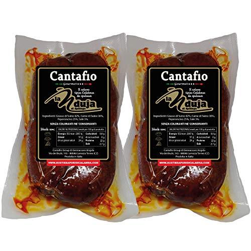 Nduja Calabrese di Spilinga piccante l'originale salame spalmabile - 2 budelli da 450gr. cadauno - prodotto artigianale senza conservanti nè coloranti nduia - Cantafio Group tipici Calabresi