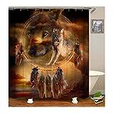 Aeici Duschvorhang 165X200 cm Traumfänger und Wolf Polyester Duschvorhang Antischimmel Bunt Duschvorhang für Badezimmer
