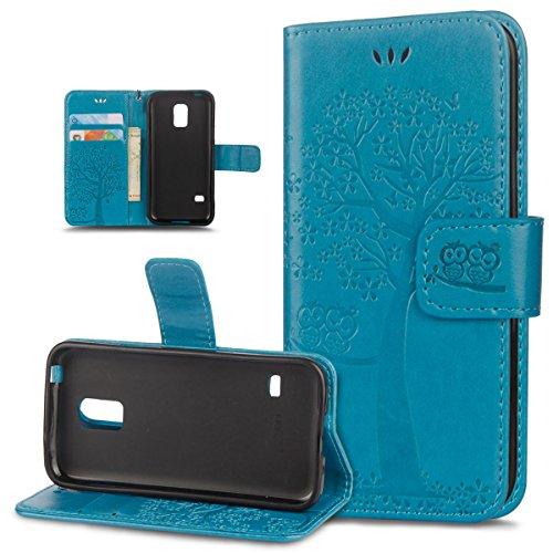 ikasus Coque Galaxy S5 mini Etui Motif relief d'arbre deux hiboux Cuir PU Housse Etui Coque Portefeuille supporter Carte de crédit Poches Flip Case Etui Housse Coque pour Galaxy S5 mini,Bleu