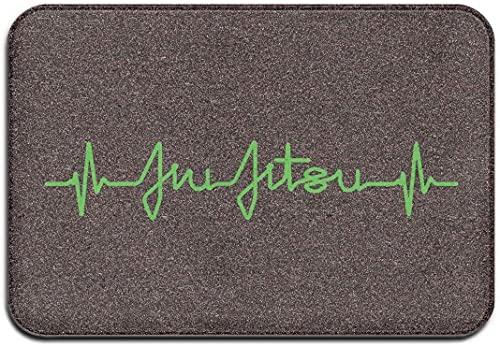 NA Felpudo brasileño de Jiu Jitsu Heartbeat para Interiores y Exteriores, felpudos de Entrada de Bienvenida, fácil Limpieza