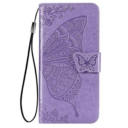 KERUN Hülle für Huawei P smart 2021 Flip Lederhülle, 3D Schmetterling Geprägte Prägung Handyhülle, Premium Leder Brieftasche Handytasche Schutzhülle mit Kartenfach Standfunktion.Helles Lila
