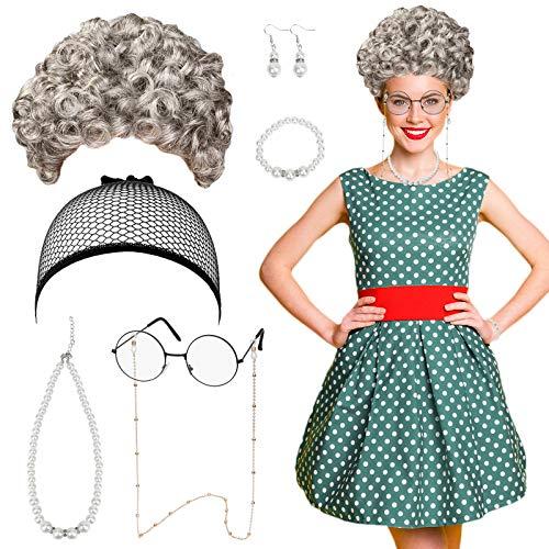 JOOPOM 7Stk Oma Kostüm Set, Großmutter Cosplay Zubehör Oma Perücke Verkleidung Party Graue Perücke Brillen Perlenschmuck für Fasching Karneval Cosplay Kostümzubehör Damen Mädchen