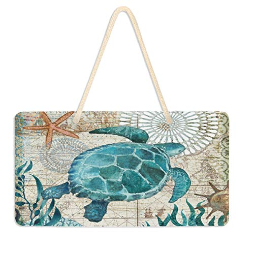 Vdsrup Nautical Sea Turtle Hanging Door Sign Plaque Cute Ocean Starfish Retro Map Wall Sign with Hanging String Decorative Hanging Sign for Front Door Home Decor 6x11 inches