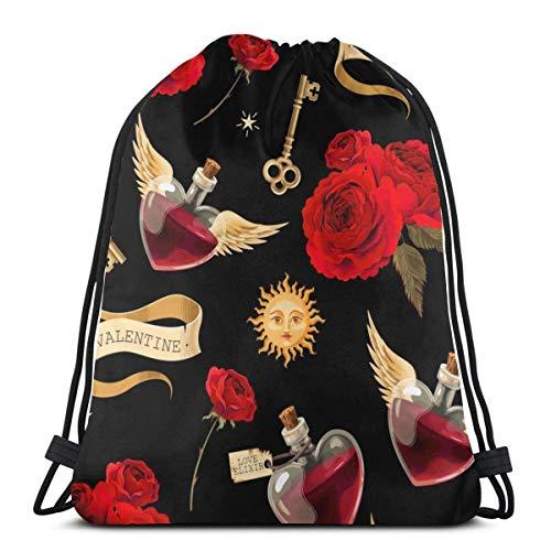 AOOEDM Botellas Love Potion Print Mochila con cordón Mochila Sackpack String Bag Cinch Bolsa de playa de nailon resistente al agua para gimnasio Compras Deporte Yoga