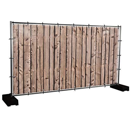 Holzwand Motivbanner Garten, Sichtschutz, Gartendeko, Plane, Verschiedene Motive (PVC - 340 x 173 cm) (Holzwand (3153))