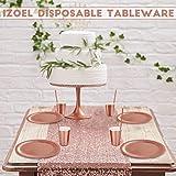 iZoeL Partygeschirr Rosegold Tischdecke Teller Becher Servietten Strohhalme Popcorn Tüten für Mädchen Party Hochzeit Kinder Geburtstag (60pcs Partyteller) - 5