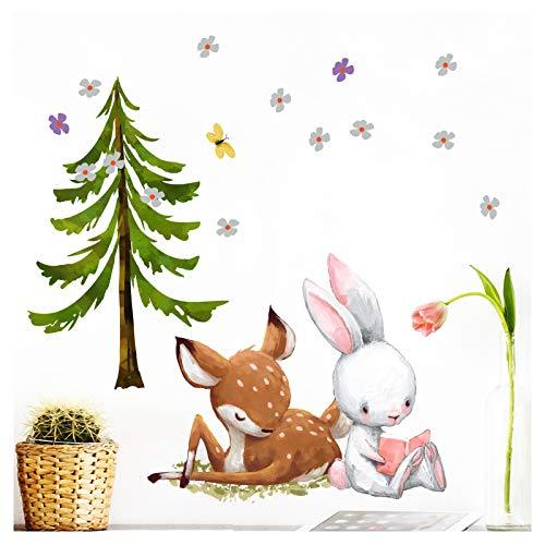 Little Deco Wandtattoo Babyzimmer REH & Hase mit Tanne I Wandbild 72 x 41 (BxH) I Blumen Kinderbilder Wanddeko für Kinderzimmer Mädchen Aufkleber DL227-9