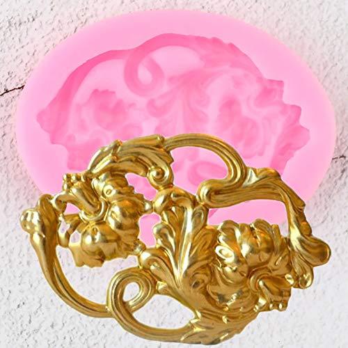 Fewear Silikonform mit Schriftroll-Rand, 3D-Form, für Bastelarbeiten, Medaillons, Fondant, Kuchendekoration, Werkzeug, Süßigkeiten, Schokolade, Blütenpaste, Formen