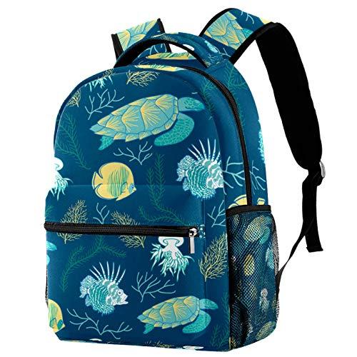 Backpack Tartaruga della spiaggia del mare Zainetto Ragazza Bambina Donna Zaino Zainetti Scuola Borsa impermeabile,Zaini per Viaggio Scuola Shopping 29.4x20x40cm