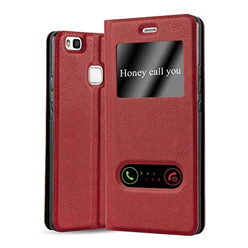 Cadorabo Funda Libro para Huawei P9 Lite en Rojo AZRAFÁN - Cubierta Proteccíon con Cierre Magnético, Función de Suporte y 2 Ventanas- Etui Case Cover Carcasa