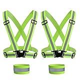 SenPuSi Chaleco de Seguridad Reflectante Set, Ajustable High Visibilidad Elastic Reflector Chaleco Cinturon Cruzado para Bicicleta Senderismo Hacer Deportes en Exterior Etc - Verde