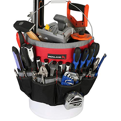 IRONLAND Bucket Tool Bag Organizer with 51 Pockets BT001 Fits 355 Gallon Bucket
