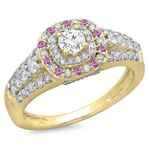 DazzlingRock Collection Anillo de compromiso para mujer rosa y diamantes de oro 14K 7