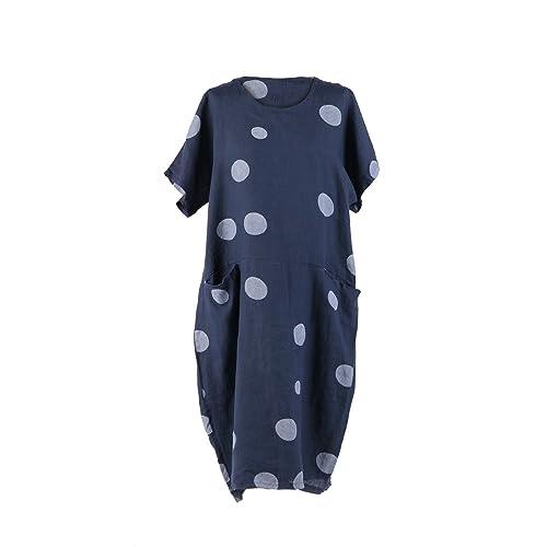 99f4982370 LushStyleUK Ladies Italian Polka Dot Pocket Linen Dress Women Lagenlook  Dress Plus Sizes