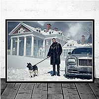 ファッションキャンバス絵画 ウォールの写真のためにリビングルームのホームインテリア絵画のポスタープリント新ドレイクヒップホップラップ音楽アルバムラッパースターシンガーアート (Color : Dark Khaki, Size (Inch) : 50x70 CM No Frame)