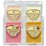 Way Out West Candles Scented Wax Melts for Wax Warmers - Highly Fragrant Air Freshener - Dessert Variety 4 Pack Assorted Set of 6 Melt Cubes - Made in USA