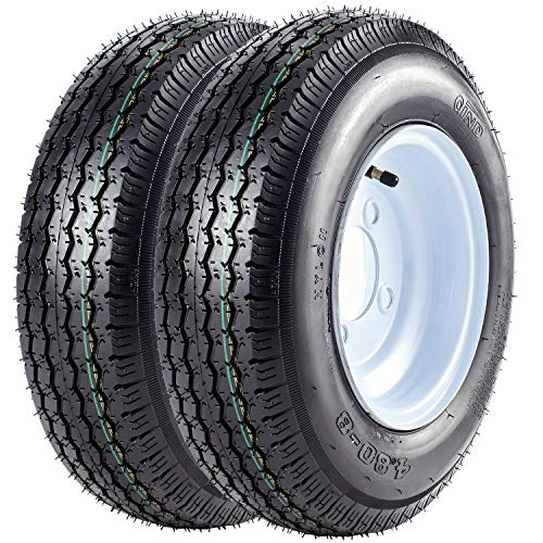 "VANACC 2PCS Trailer Tires & Rims 4.80-8 480-8 6PR with 4 Lug on 4"" Wheel White Spoke 4.80x8 Kayak Trailer Tire"