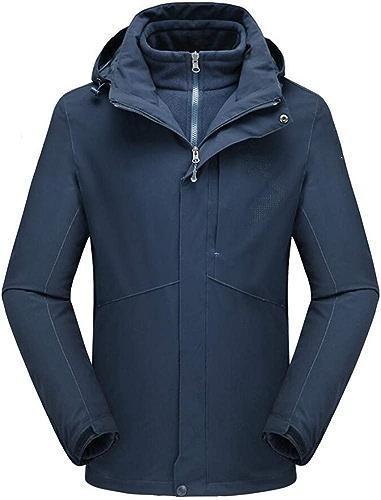 FEIYUESS Veste d'extérieur pour Homme, Coupe-Vent et Froide, étanche 3 en 1, Combinaison d'alpinisme (Couleur   Bleu, Taille   M)