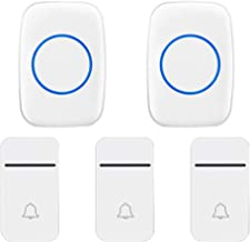 Self-Powered Wireless Doorbell, 200M Remote Doorbell, 3 Button and 2 Receivers, 3 Volumes, 38 Melody Options, IP44 Waterpr...