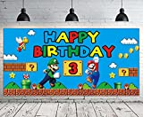 Super Mario 3rd Birthday Backdrop | Super Mario Bros 3rd Birthday Sign Banner | Super Mario 3rd Birthday Party Supplies Decorations | Mario Third Birthday Party Photography Background - 6.6 x 3.3 FT