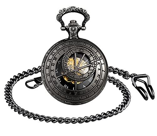 SUPBRO Reloj de bolsillo analógico para hombre y mujer, reloj de bolsillo, con cadena, suéter, cadena meridiano, Negro ,