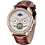 LIGE Waterproof Mens Watches Luxury Business Mechanical Watch Automatic Gold White Leather Strap...