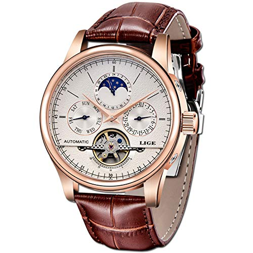 LIGE Waterproof Mens Watches Luxury Business Mechanical Watch Automatic Gold White Leather Strap Wristwatch