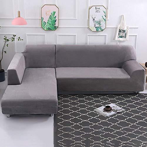 Dightyoho Funda de Sofa Elástica Chaise Longue Brazo Largo Derecho Cubre Sofá Modelo Acolchado Diseñada de Forma L Protector para Sofá de Terciopelo Grueso Color Sólido (Gris, 2 + 3)