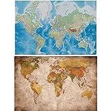 GREAT ART Juego de 2 Carteles XXL - Mapamundi clásico - Cada uno de Mapamundi Retro y proyección de Miller Vintage Aspecto Moderno Mural Viajes Poster fotográfico (140 x 100 cm)