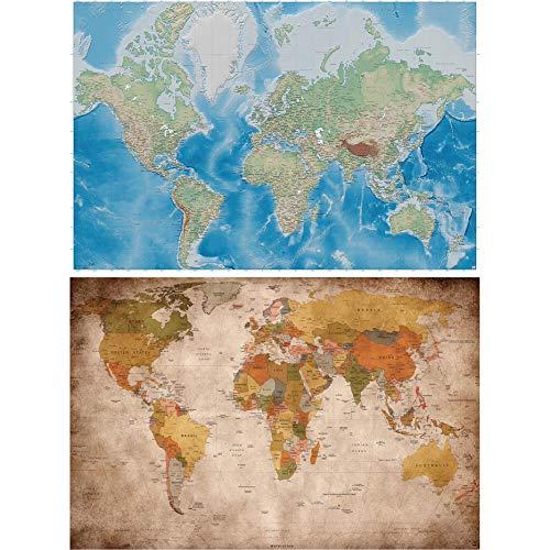 GREAT ART Set de 2 carteles XXL   140 x 100 cm   Mapamundi clásico retro y proyección de Miller Vintage aspecto moderno viajes   Foto Póster de Pared Mural Imagen Decoración