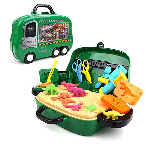 DIY Play Dough Dinosaur Toys Clay Pretend Play Set with Molds Dinosaur Toys Kids in a Portable Suitcase for Boys and Girls
