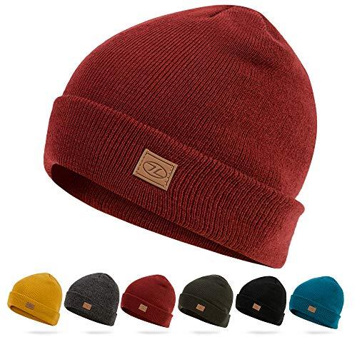 HIGHLANDER Chapeau de Ski Thinsulate - Bonnet en Tricot Classique (Rouge Foncé)