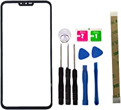 Replacement Repair Front Top Glass Lens Cover Screen for LG V40 Mobile Phone Parts and Adhesive Tool (No LCD Touch Digitizer) (Black)