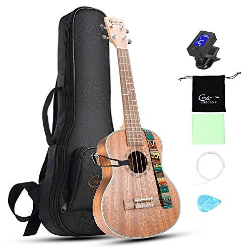 Hricane Concert Ukulele 23 inch UKS-2, 4 Strings Ukeleles For Beginners, Sapele Hawaiian Ukele with Ukulele Case and Ukele String Set