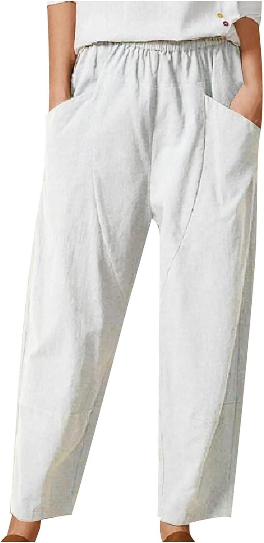MIVAMIYA Womens Comfy Cotton Linen Pajama Pants Smocked Waist Casual Harem Flowy Lightweight Joggers Lounge Pants