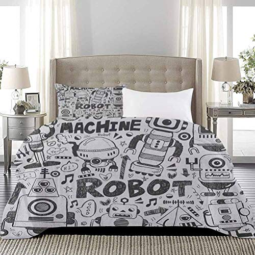 UNOSEKS LANZON Bedspread Coverlet Set Futuristic Space Doodle Style Androids Sci Fi Pattern Fantasy Machine Art Print Comforter Cover Hypoallergenic Modern Style Grey Pale Grey, Full Size