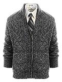 Gioberti Mens Heavy Weight Cardigan Twisted Knit Regular Fit Full-Zipper Sweater, Gray, Large