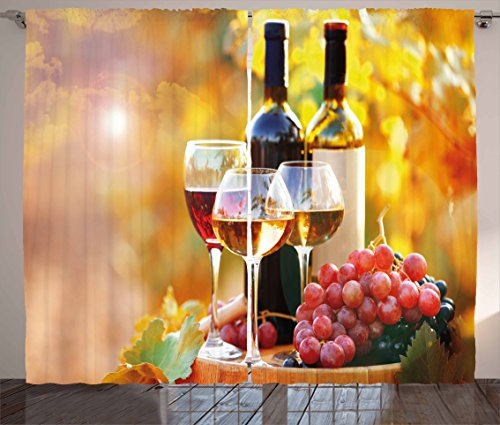 Ambesonne Wine Curtains, Tasty Wine on Wooden Barrel on Grape Plantation Countryside Harvest Rural Growth, Living Room Bedroom Window Drapes 2 Panel Set, 108 W X 84 L Inches, Orange Red