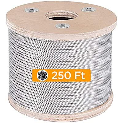OASD 3/16 Inch 7x19 T304 Stainless Steel Cable Wire Rope 250ft Marine Grade Type for Decking Railing, DIY Balustrade, Aircraft, Light Hanging, Fishing, Zipline 3/16 inch Stainless Steel Cable