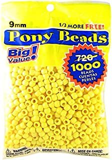 Darice Opaque Lemon Yellow Pony Beads – Great Craft Projects for All Ages – Bead Jewelry, Ornaments, Key Chains, Hair Beading – Round Plastic Bead With Center Hole, 9mm Diameter, 1,000 Beads Per Bag