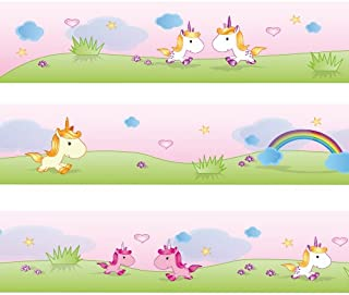 Wandkings Border Sweet Unicorns Length: 177 inch, self-Adhesive, for Children's Rooms