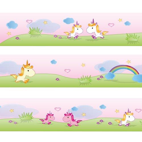 WANDKINGS Greca Dulces Unicornios, Longitud: 450 cm, autoadhesiva, para la habitación de los niños
